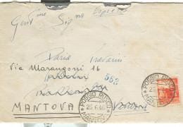 DEMOCRATICA £.4 - ISOLATO TARIFFA LETTERA, 1946, POSTE POGGIO RUSCO,MANTOVA,VENEZIA TARGHETTA,MESS. BOLOGNA-BRENNERO - 6. 1946-.. Repubblica