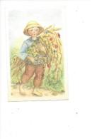 14387-  Mini Carte Enfant  à La Gerbe De Blé Et Coquelicot Signé A Bo - Illustrateurs & Photographes