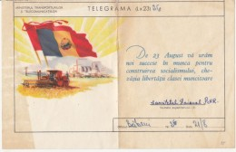 AGRICULTURE, HARVESTER, INDUSTRY, FLAGS, TELEGRAMME, 1957, ROMANIA - Télégraphes