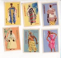 Tabac - ( Lot De 6  ) Etiquettes De Boites D'allumettes De Costumes D'Afrique - Scatole Di Fiammiferi - Etichette