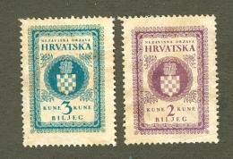 Two Old NDH Biljeg 2 Kune I 3 Kune Taksene Marke Excellent Cond - Croazia