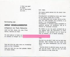 Demeulemeester Adolf Debeurme Paula Kaster Anzegem  Bidprentje Doodsprentje - Religion & Esotericism