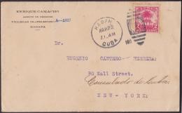1905-H-55 CUBA REPUBLICA. 1905. 2c BOOKLED STAMPS. 1911 TO CONSULADO OF CUBA IN NEW YORK. - Cuba
