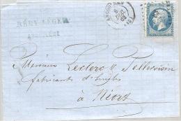 FRANCE - LAC - 20 C. Bleu NAPOLEON III - Légende Empire Franc.Losange Petits Chiffres 83 - Petit Cachet à Date Angoulême - 1862 Napoléon III.