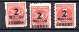 ALEMANIA REICH .  AÑO 1923.   Mi  309 Bb X 3  (MH) - Infla