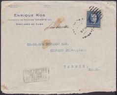 1917-H-251 CUBA REPUBLICA. 1917. 5c PATRIOTAS. IMPERF SOBRE COMERCIAL MARCA REPARTO DE MADRID ESPAÑA. - Cuba