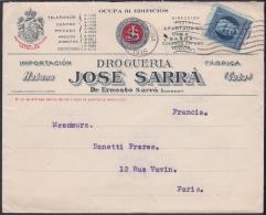 1917-H-254 CUBA REPUBLICA. 1917. 5c PATRIOTAS. SOBRE COMERCIAL FARMACIA SARRA A FRANCE FRANCIA. PHAPHARMACY DRUG STORE. - Cuba