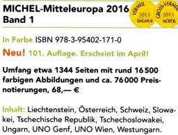 Europa Band 1 MICHEL 2016 Neu 68€ Katalog Mitteleuropa Austria Schweiz UN Genf Wien CZ CSR Ungarn Liechtenstein Slowakei - Literatur