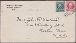 1917-H-258 CUBA REPUBLICA. 1917. 1-2c PATRIOTAS. SOBRE INGENIO JOBABO. SUGAR MILLS.  A US. RAILROAD AMBULANTE. - Lettres & Documents