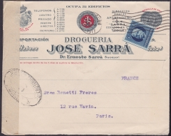 1917-H-259 CUBA REPUBLICA. 1917. 5c PATRIOTAS. FARMACIA SARRA FRANCE FRANCIA PHARMACY DRUG STORE CENSORSHIP. - Lettres & Documents