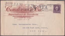 1917-H-261 CUBA REPUBLICA. 1917. 3c PATRIOTAS. 1922. SOBRE COMERCIAL FERRETERIA.  SANTIAGO DE CUBA A NEW YORK. - Cuba