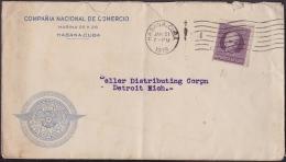 1917-H-262 CUBA REPUBLICA. 1917. 3c PATRIOTAS. 1919. SOBRE COMERCIAL Cª DE COMERCIO. CENSORSHIP - Lettres & Documents