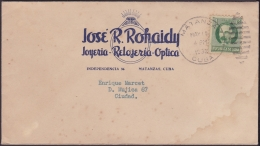 1917-H-263 CUBA REPUBLICA. 1917. 1c PATRIOTAS. 1938. SOBRE COMERCIAL JOYERIA JEWERLY  MATANZAS - Cuba