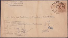 1917-H-264 CUBA REPUBLICA. 1917. 10c PATRIOTAS. 1935. SOBRE CERTIFICADO CAMAGUEY A LA HABANA. - Lettres & Documents