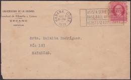 "1917-H-266 CUBA REPUBLICA. 1917. 2c PATRIOTAS. 1939. RARE CANCEL ""ASISTA SERIE MUNDIAL DE BASEBALL"" BEISBOL. - Lettres & Documents"
