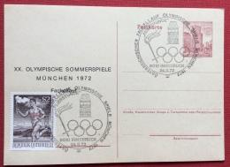 OLIMPIADI DI MONACO 1972 INTERO POSTALE ED ANNULLO SPECIALE DELL'AUSTRIA - Estate 1972: Monaco