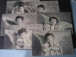 == Kind Engel, Glaube Friede Liebe   6 AK Serie , Selten Komplett  1905 - Engel