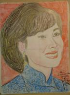 Dessin Au Crayon-Illustrateur -Mai épouse Du Général KY Exilé Aux Etats-Unis  (3) - Dessins