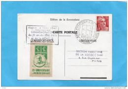 Cpa- 25° ANNIVERSAIRE DU -COIN DATE 1947- +Vignette Concordante Oblitérée-a Voyagé -  à VOIR - Commemorative Labels