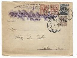 BUSTA PUBBLICITARIA ASCARI CARPI AFFRANCATA REGNO - 1900-44 Victor Emmanuel III.