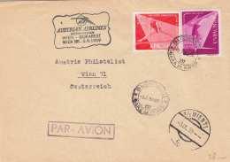 ROMANIA 1959 - 35 Bani + 1,75 Lei Auf Brief Mit Sonderstempel Der Austrian Airlines Philabrief - Posta Aerea