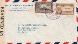 VENEZUELA 1950? - 25 + 40 Centimos Auf Zensur LP-Brief Von Caracas > New York - Venezuela