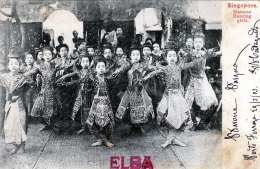 SINGAPUR - Siamese Dancing Girls, Karte Gel.1903 Nach Genova, Stempel Postale Italiano??, Abgelöste Marke - Singapur