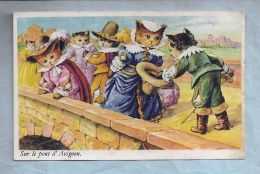 CPA - Fantaisie - Chats - Sur Le Pont D'Avignon - Cats