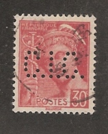 Perforé/perfin/lochung France No 412 C.I.C.  Crédit Industriel Et Commercial (174) - Perfins
