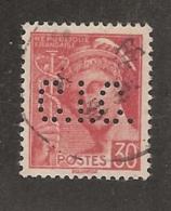 Perforé/perfin/lochung France No 412 C.I.C.  Crédit Industriel Et Commercial (174) - Francia