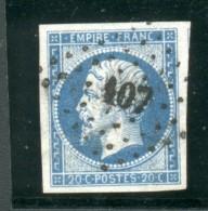 Petits Chiffres PC N° 107  Commune Du Doubssur Y&T N° 14 Empire 20c Bleu - 1849-1876: Classic Period