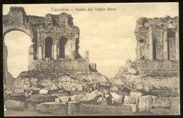 TAORMINA - MESSINA - INIZI 900 - PLATEA DEL TEATRO GRECO. ANIMATA CON DONNA IN COSTUME - Messina