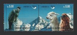 Bolivie Bolivia 1995 Yvert 896/897 ** Protection De La Faune Locale Condor Lama UPAEP - Bolivie