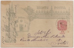 Portugal Inteiro Postal Stationery Entier - Igreja De Tomar Church - Cancel Postmark Celeirós Do Douro And Porto 1898 - Entiers Postaux