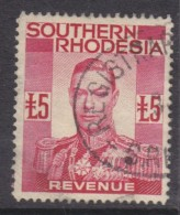 Southern Rhodesia, George VI, 1937, £5 Red, REVENUE, Good Used - Southern Rhodesia (...-1964)