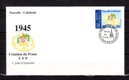 """NOUVELLE-CALEDONIE 1995 : Env. 1er Jour : """"  50 ANS DE LA CREATION DU FRANC PACIFIQUE CFP """". Parf. état - Monete"""