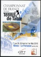 FRANCE 2010 - Nimes - Championnats - * - Timbre Et Cachet Nimes - Tennis Table Tischtennis Tavolo - Tischtennis