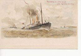 Paquebots De L'Etat Belge-ligne Ostende -Douvres   -Le Léopold II-10 C. Fine Barbe. - Entiers Postaux