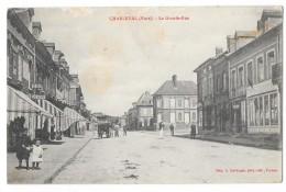 Cpa: 27 CHARLEVAL (ar. Les Andelys) La Grande Rue (animée, Attelage, Tabac) - France