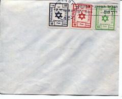 ISRAEL OLD COVER INTERIM 3 EMERGENCY STAMPS- Cancel  NAHARIYA - Cartas
