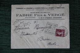 Enveloppe Timbrée Publicitaire, CARCASSONNE, Maison FABRE Fils Et Vergé,Lingerie De Confection Dames Et Fillettes - Francia