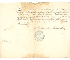 ENSIVAL 1853  Certificat De Naissance De Jean Charles PALANTE (b185) - Manuscripts