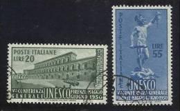 1950 Italia Italy Repubblica UNESCO Serie Di 2v. Usata U.N.E.S.C.O. USED - UNESCO