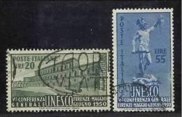 1950 Italia Italy Repubblica U.N.E.S.C.O. Serie Unesco Di 2v. Usata USED - UNESCO