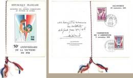 Souvenir Philatélique 50e Anniversaire De La Victoire De 1918, Cachets Spéciaux, Salonique / Carrefour De L'Armistice - France