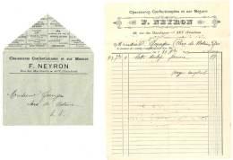Enveloppe & Facture Chaussures F. Neyron, Rue Des MArchands, Apt ( Vaucluse ) - Facturas & Documentos Mercantiles