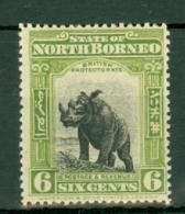 North Borneo: 1909/23   Rhinoceros    SG167a   6c   Olive-green [Perf: 14½-15]   MH - Noord Borneo (...-1963)