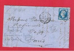 Lettre / De Clermond Ferrand  / Pour Paris / 19 Juin 1861 - Postmark Collection (Covers)