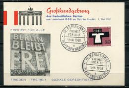 """Germany Berlin 1960 Propaganda Sonderbeleg/Card 1960 Mit Mi.Nr.313 U.SST""""Berlin NW 21-Freiheit Für Alle,Berlin """"1 Beleg - Evènements"""