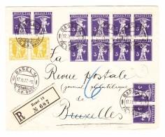 Schweiz R-Brief 17.11.1927 Basel14 Nach Belgien Mit #118 (x22) - Suisse